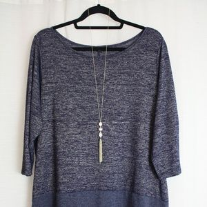 Lane Bryant Heather Blue 3/4 Sleeve Sweater